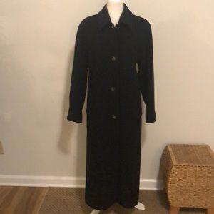 Kristen Blake black long wool trench coat